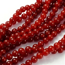 Gemstone Beads Strands, Carnelian, Dyed, Round, FireBrick, 10mm, Hole: 1.2mm; about 39pcs/strand, 15~16