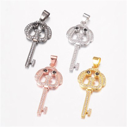 Brass Micro Pave Cubic Zirconia Pendants, Dog Head Key-1