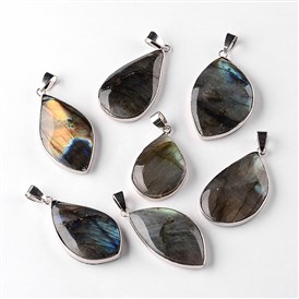 Natural Labradorite Drop Pendants, with Platinum Plated Brass Findings, 34~60x13~35x5~15mm, Hole: 4x7mmm
