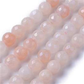 Electroplate Natural Aventurine Beads Strands, Faceted, Round