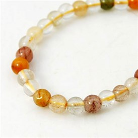Natural Rutiateo Quartz Beads Strands, Round