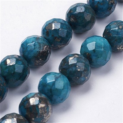 Natural Pyrite Beads Strands, Dyed, Round, Faceted-1