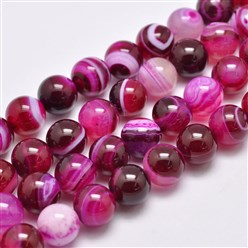 "DeepPink Natural Striped Agate/Banded Agate Bead Strands, Dyed & Heated, Round, Grade A, DeepPink, 14mm, Hole: 2mm; about 28pcs/strand, 14.9""(380mm)"