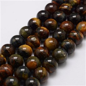 Natural Tiger Eye Bead Strands, Grade AB, Round