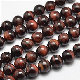 Natural Tiger Eye Beads Strands, Grade A, Dyed & Heated, Round
