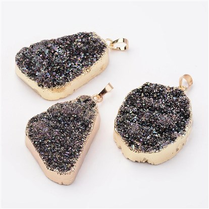 Electroplated Natural Druzy Agate Pendants, with Golden Tone Brass Findings, Nuggets-1