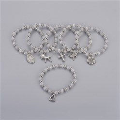 "LightGrey 304 Stainless Steel Charm Bracelets, with Plastic Beads, Mixed Shaped, LightGrey, 2-1/4""(5.6cm)"
