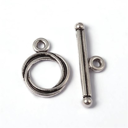 Tibetan Silver Toggles, Lead Free and Cadmium Free, Toggle: 13mm wide, 17mm long, Tbars: 3mm wide, 24mm long, hole: 2mm-1