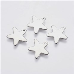 Stainless Steel Color 304 Stainless Steel Charms, Star, Stainless Steel Color, 13x13.5x0.8mm, Hole: 1mm