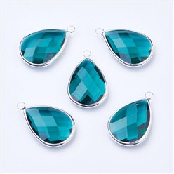 Teal Silver Tone Brass Glass Drop Pendants, Faceted, Teal, 18x10x5mm, Hole: 2mm