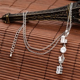 Word Love Brass Cubic Zirconia Pendant Necklaces, with Cable Chain and Lobster Claw Clasps, Nickel Free, 18.5