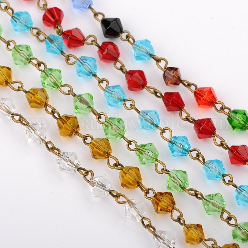 handmade bicone glass beads chains for neckalces bracelets making with antique bronze iron eyepins