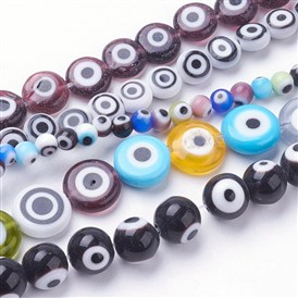 Handmade Evil Eye Lampwork Beads Strands, Mixed Shapes