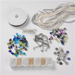 Mixed Material Free Tutorial DIY Jewelry Basics Kit, 1800pcs Glass Pearl Beads