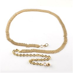 Light Gold Iron Chain Belts with Aluminum End Chains, Light Gold, 31.5""