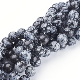 Natural Snowflake Obsidian Beads Strands, Round