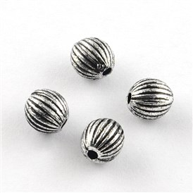 Round Antique Acrylic Corrugated Beads, 6mm, Hole: 1.5mm; about 4900pcs/500g