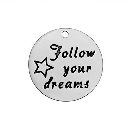 304 Stainless Steel Enamel Pendants, Flat Round with Word Follow Your Dreams, Stainless Steel Color-1
