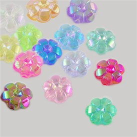 Transparent Acrylic Beads, Flower, AB Plated, 10x4mm, Hole: 1mm