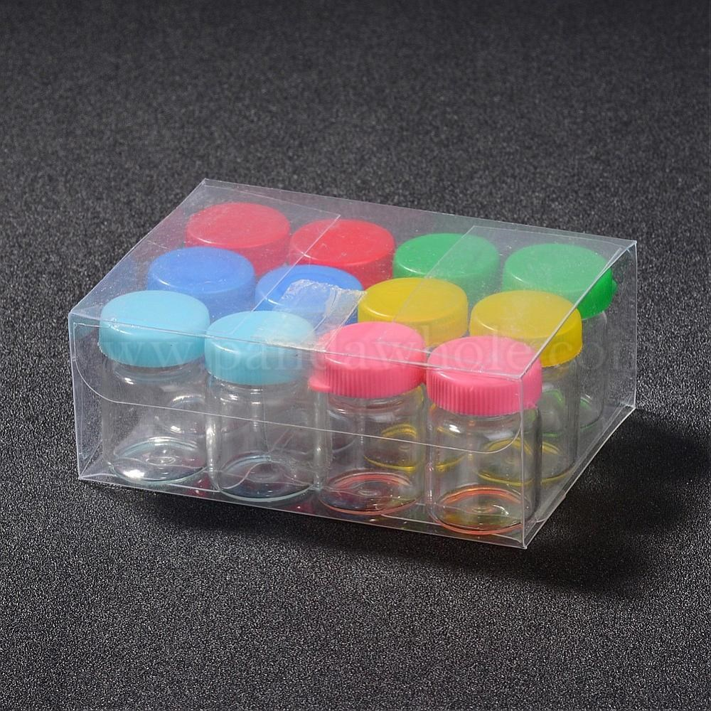wholesale glass jar bead containers with plastic cover in