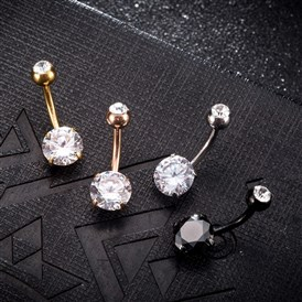 Piercing Jewelry, Environmental Brass Cubic Zirconia Navel Ring, Belly Rings, with Stainless Steel Findings, Flat Round