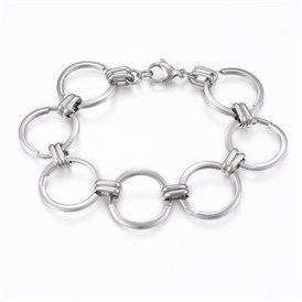 304 Stainless Steel Link Bracelets, with Lobster Claw Clasps, Ring