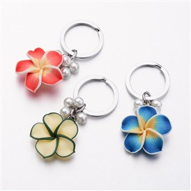 Platinum Tone Iron Keychain, with Handmade Polymer Clay Flower and Pearlized Glass Beads, 81mm