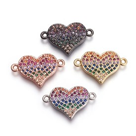 Brass Micro Pave Cubic Zirconia Links, Heart