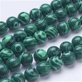 Synthetic Malachite Beads Strands, Round