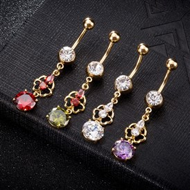 Environmental Brass Cubic Zirconia Navel Ring, Belly Rings, with Use Stainless Steel Findings, Flower with Flat Round