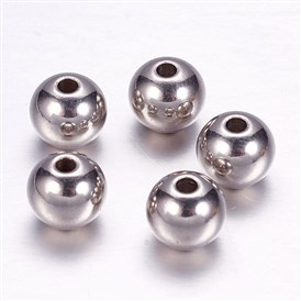 304 Stainless Steel Beads, Round