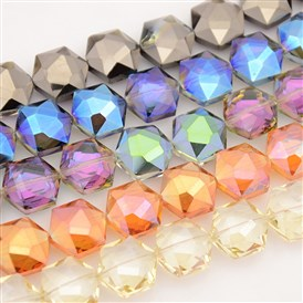 Hexagon Electroplate Full Rainbow Plated Glass Beads Strands, Faceted, 15x14x8mm, Hole: 1mm; about 40pcs/strand, 23.6""