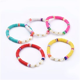 Stretch Bracelets, with Handmade Polymer Clay Heishi Beads, Heart Natural Sea Shell Beads and Round Brass Beads