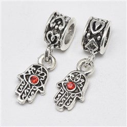 Light Siam Alloy European Dangle Beads, with Rhinestones, Large Hole Pendants, Long-Lasting Plated, Hamsa Hand/Hand of Fatima/Hand of Miriam with Eye, Antique Silver, Light Siam, 25mm, Hole: 4.5mm; Hamsa Hand/Hand of Fatima/Hand of Miriam with Eye: 15x8x3mm