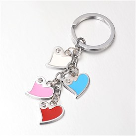 Zinc Alloy Enamel Keychain, with Rhinestones, Heart, 100x20mm