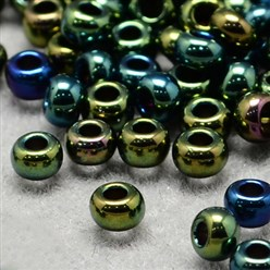 Teal FGB&reg 12/0 Electroplated Glass Seed Beads, Grade A, Iris Round, Teal, 2x1.5mm, Hole: 0.3mm