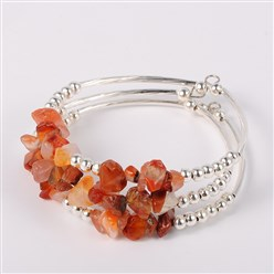 Carnelian Gemstone Chip Bead Cuff Bracelets, with Brass Tube Beads and Iron Round Beads, Silver, Red Agate, 50x55mm
