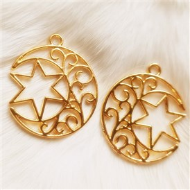 Zinc Alloy Open Back Bezel Pendants, For DIY UV Resin, Epoxy Resin, Pressed Flower Jewelry, Moon with Star of David