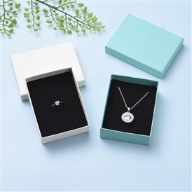 Cardboard Gift Box Jewelry  Boxes, for Necklace, Ring, with Black Sponge Inside, Rectangle