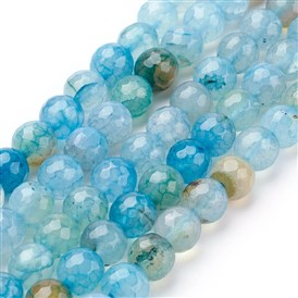 Natural Agate Beads Strands, Dyed, DarkCyan, Faceted, Round