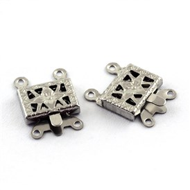 304 Stainless Steel Box Clasps, Rectangle, 4 Hole, 2 Loop