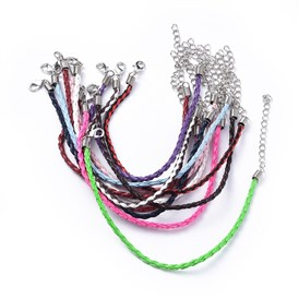 Trendy Braided Imitation Leather Bracelet Making, with Iron Lobster Claw Clasps and End Chains, 200x0.3mm