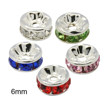 Rondelle Silver Brass Grade A Rhinestone Spacer Beads, Straight Flange, 6x3mm, Hole: 1mm-1