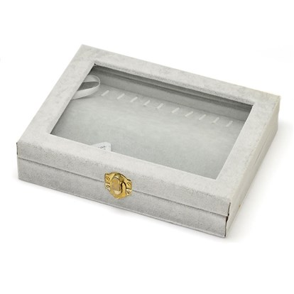 Wooden Rectangle Jewelry Boxes, Covered with Velvet, with Glass and Iron Clasps, 20x15.7x4.7cm
