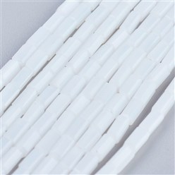 "White Opaque Glass Beads Strands, Faceted, Cuboid, White, 4~5x2~2.5x2~2.5mm, Hole: 0.5mm; about 100pcs/strand, 17.5~19""(44.5~48.5cm)"