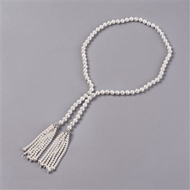 Electroplated Shell Beaded Tassel Necklaces, with Brass Micro Pave Cubic Zirconia Beads and Clasp, Round
