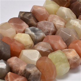 Faceted Nuggets Natural Sunstone Beads Strands, 11~15x13~20x10~15mm, Hole: 1mm; about 36~39pcs/strand, 15.5
