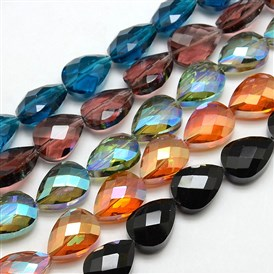 Electroplate Crystal Glass Drop Beads Strands, Faceted, Color Plated, 18x13x9mm, Hole: 1mm; about 40pcs/strand, 28.3""
