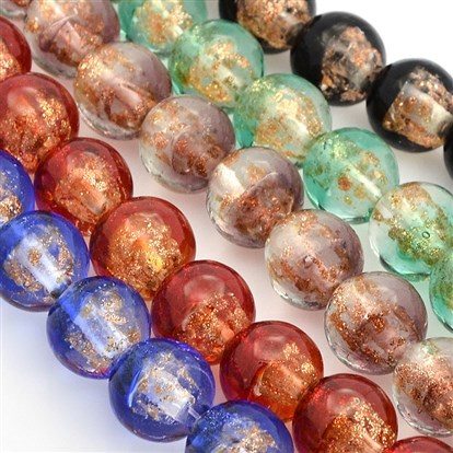 Handmade Two Tone Gold Sand Lampwork Round Beads Strands, 12mm, Hole: 2mm; about 33pcs/strand, 15.7""