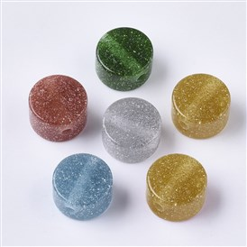 Resin Beads, with Silver Powder, Glitter Beads, Flat Round